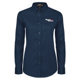 Ladies Navy Twill Button Down Long Sleeve-Winning in Paradise