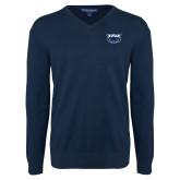 Classic Mens V Neck Navy Sweater-Primary Mark