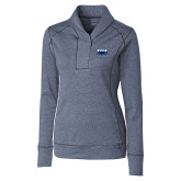 Ladies Cutter & Buck Shoreline Navy 1/2 Zip-Primary Mark