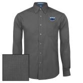 Mens Dark Charcoal Crosshatch Poplin Long Sleeve Shirt-Primary Mark