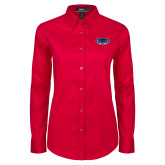 Ladies Red Twill Button Down Long Sleeve-Mascot