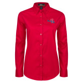 Ladies Red Twill Button Down Long Sleeve-Paradise Club