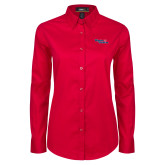 Ladies Red Twill Button Down Long Sleeve-Winning in Paradise