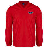 V Neck Red Raglan Windshirt-Mascot