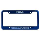 Metal Blue License Plate Frame-C - Glitter White-Soft Engraved