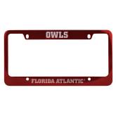 Metal Red License Plate Frame-C - Glitter White-Soft Engraved