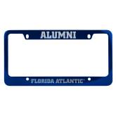 Alumni Metal Blue License Plate Frame-C - Glitter White-Soft Engraved