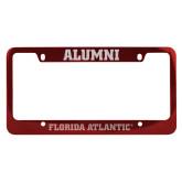 Alumni Metal Red License Plate Frame-C - Glitter White-Soft Engraved
