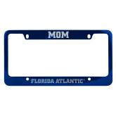 Mom Metal Blue License Plate Frame-C - Glitter White-Soft Engraved