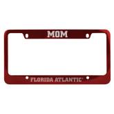 Mom Metal Red License Plate Frame-C - Glitter White-Soft Engraved