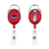 Red Oval Retractable Badge Holder w/Clip-Mascot