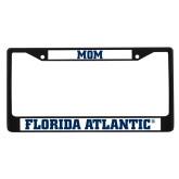 Mom Metal License Plate Frame in Black-C - Glitter White-Soft