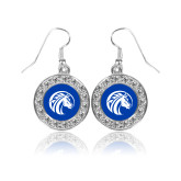 Crystal Studded Round Pendant Silver Dangle Earrings-Bronco