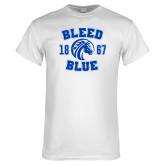 White T Shirt-Bleed Blue 1867