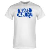 White T Shirt-Bleed Blue