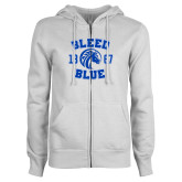 ENZA Ladies White Fleece Full Zip Hoodie-Bleed Blue 1867