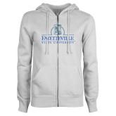 ENZA Ladies White Fleece Full Zip Hoodie-Fayetteville State University Logo
