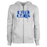 ENZA Ladies White Fleece Full Zip Hoodie-Bleed Blue