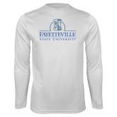 Performance White Longsleeve Shirt-Fayetteville State University Logo