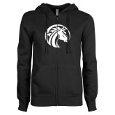 ENZA Ladies Black Fleece Full Zip Hoodie-Bronco