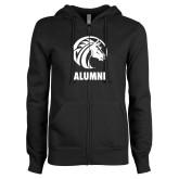 ENZA Ladies Black Fleece Full Zip Hoodie-Alumni