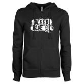 ENZA Ladies Black Fleece Full Zip Hoodie-Bleed Blue