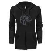 ENZA Ladies Black Light Weight Fleece Full Zip Hoodie-Bronco Graphite Soft Glitter