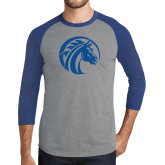 Grey/Royal Heather Tri Blend Baseball Raglan-Bronco