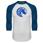 White/Royal Raglan Baseball T Shirt-Bronco