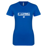 Next Level Ladies SoftStyle Junior Fitted Royal Tee-Volleyball Design