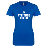 Next Level Ladies SoftStyle Junior Fitted Royal Tee-Attitude Check