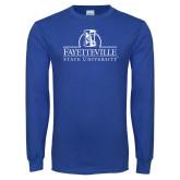 Royal Long Sleeve T Shirt-Fayetteville State University Logo