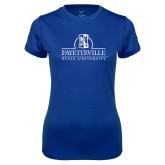 Ladies Syntrel Performance Royal Tee-Fayetteville State University Logo