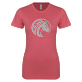 Next Level Ladies SoftStyle Junior Fitted Pink Tee-Bronco White Soft Glitter