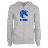 ENZA Ladies Grey Fleece Full Zip Hoodie-Alumni