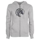 ENZA Ladies Grey Fleece Full Zip Hoodie-Bronco Graphite Soft Glitter