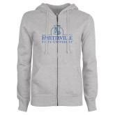 ENZA Ladies Grey Fleece Full Zip Hoodie-Fayetteville State University Logo