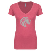 Next Level Ladies Vintage Pink Tri Blend V-Neck Tee-Bronco White Soft Glitter