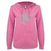 ENZA Ladies Hot Pink V Notch Raw Edge Fleece Hoodie-Bronco White Soft Glitter