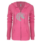 ENZA Ladies Hot Pink Light Weight Fleece Full Zip Hoodie-Bronco White Soft Glitter