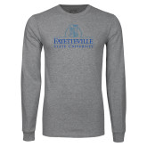 Grey Long Sleeve T Shirt-Fayetteville State University Logo