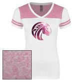 Ladies White/Bright Pink Juniors Varsity V Neck Tee-Bronco Foil
