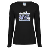 Ladies Black Long Sleeve V Neck T Shirt-Our City Our Team