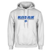 White Fleece Hood-Bleed Blue