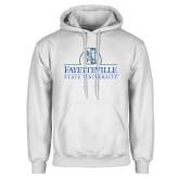 White Fleece Hoodie-Fayetteville State University Logo