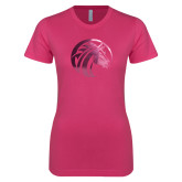 Ladies SoftStyle Junior Fitted Fuchsia Tee-Bronco Foil