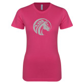 Ladies SoftStyle Junior Fitted Fuchsia Tee-Bronco White Soft Glitter