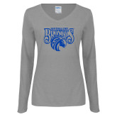 Ladies Grey Long Sleeve V Neck T Shirt-Official Logo