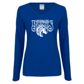 Ladies Royal Long Sleeve V Neck Tee-Official Logo