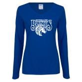 Ladies Royal Long Sleeve V Neck T Shirt-Official Logo